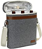 3 Bottle Insulated Wine Tote Cooler Bag, Portable Wine Carrier with Corkscrew Opener
