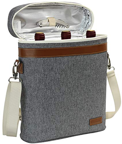ZORMY 3 Bottle Insulated Wine Tote Cooler Bag, Portable Wine Carrier with Corkscrew Opener and Shoulder Strap for Beach Travel Picnic, Unique Wine Carrier for Wine Lover Gifts Grey