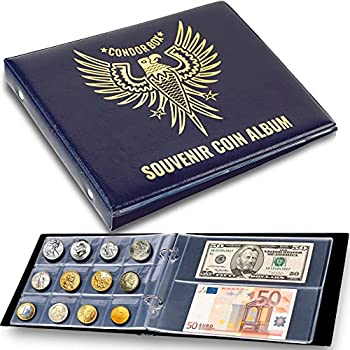3in1 Coin Holder Album 180 Pockets - Paper Money Collection 10 Pockets - Large Storage Book for Collectors - for Gold Silver Dollars Dollar Bill Currency Quarters Penny Foreign Coins - Dark Blue