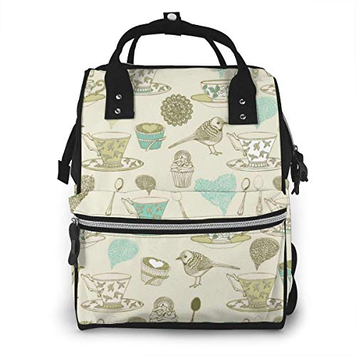 UUwant Sac à Dos à Couches pour Maman Large Capacity Diaper Backpack Travel Manager Baby Care Replacement Bag Nappy Bags Mummy BackpackVintage Tea Time Pattern Vector Image