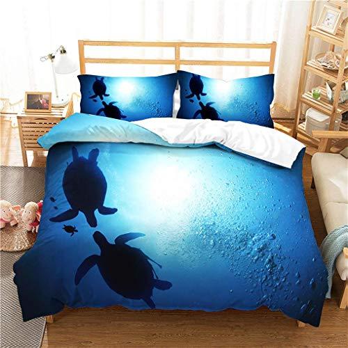 788 3D Duvet Cover set Sea Creature Turtle Starfish Fun Hamburger Turtle Blue White Black Children Bedding Boy Girl Polyester Breathable (Style 4,Single 135x200 cm + 50x75 cm * 1)