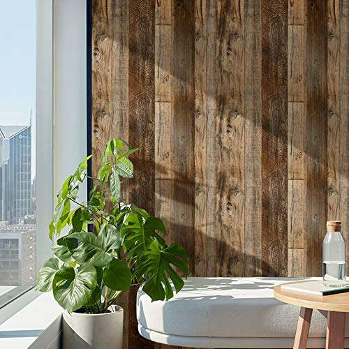 Brown Wood Peel and Stick Wallpaper 17.8' x 236' Self Adhesive Removable Decorative Wood Wallpaper for Wall Covering Countertop Cabinet Shelf Liner Drawer Liner…