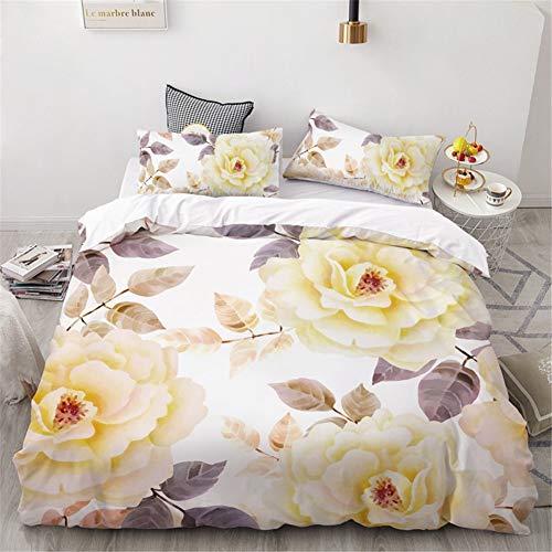 Chickwin Bettwäsche Set,3 Teilig Mikrofaser Bettbezug mit Reißverschluss und 2 Bequem Weiche Kissenbezug zum Erwachsene Jugendliche Doppelbett-3D Schöne Blumen Drucken (Vergilbte Blätter,135x200cm)