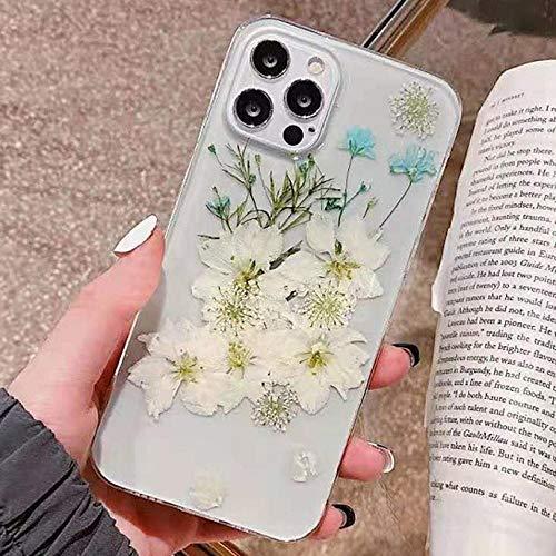 Tybiky Cover per iPhone XS iPhone X con fiori secchi, protezione in gel ultra sottile, motivo floreale immerdibile, in silicone TPU, bumper Case Cover
