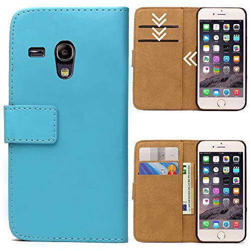 Roar Handytasche für Samsung Galaxy S3 Mini, Flipcase Tasche Schutzhülle Handyhülle für Samsung Galaxy S3 Mini Bookcase Wallet mit Magnet, Hellblau