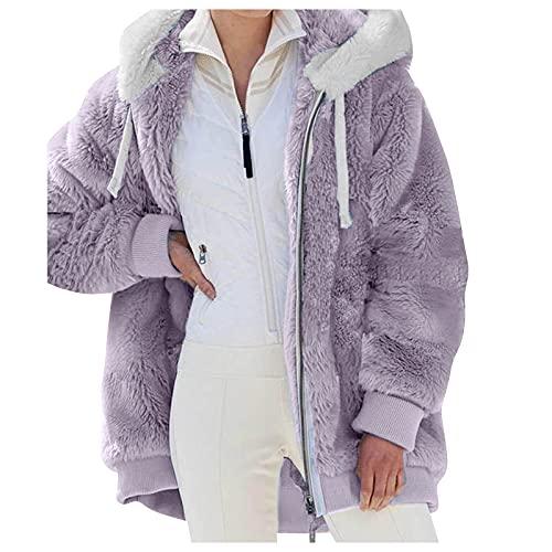 Vexiangni Chaqueta de forro polar para mujer con capucha, para exterior, para entretiempo, elegante, para otoo, felpa, peluche, abrigo de peluche, morado, S