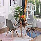 H.J WeDoo Esszimmergruppe Moderner Glastisch Rund Esstisch mit 4 Stühlen Geeignet für Esszimmer Küche Wohnzimmer, Transparent & Grau