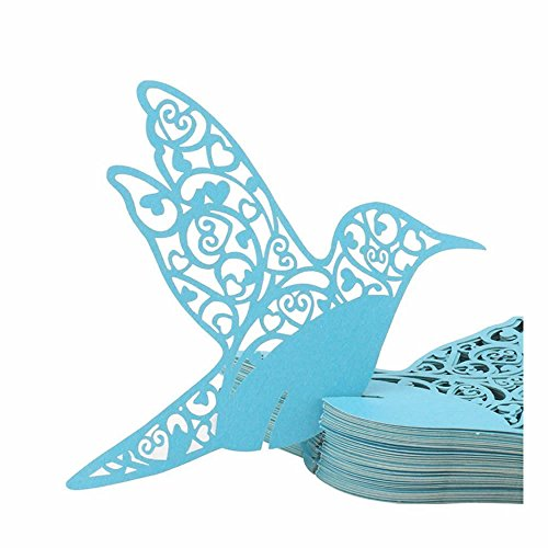 GOOTRADES 100 Pack Bird Shaped Wedding Table Paper Place Card Escort Name Card Wine Glass Card for Wedding Party Decoration (Blue)
