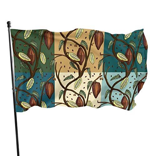 Cy-ril Dibujos Animados de Frutas Marrones Fly Breeze Bandera de poliéster de 3 x 5 pies, Bandera de jardín Duradera Resistente a la decoloración