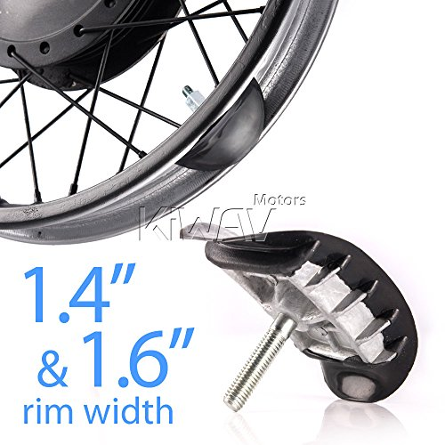 KiWAV Motorcycle Rim Lock Alloy Rubber compatible for 1.4 1.6 Inch Rim Silver Lock Nut