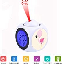 JLHEB Projection White Alarm Clock Digital LCD Display Voice Talking Table Clocks Temperature Snooze Function Desk Tropical Pink Flamingo