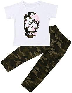2pcs Toddler Baby Girl Outfits Cool Boy Summer Short Sleeve Skull Tshirt Tops+Camouflage Leggings Pants