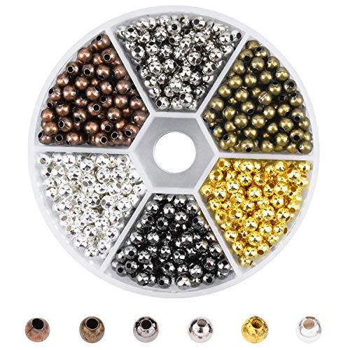 950pcs 4mm Cuentas Redondas Mini Cuentas de Metal DIY Bracelet Arte y joyería-Making, Cadena de Cuentas de Fabricación de Juego 6 Fadeless Color