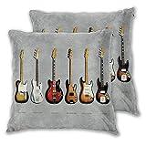 NANITHG Juego de 2 Fundas de cojín,Stratocaster Telecaster Precision Bass Mustang Bass Guitarra eléctrica Música,Decorativa Cuadrado Suave Funda de Almohada Sofá Sillas Cama para Hogar,45x45cm