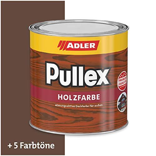 ADLER Pullex Holzfarbe - deckende Wetterschutzfarbe für Sanierung und Neuanstrich mit Schutz vor Bläue- und Schimmelpilz - RAL8011 Nussbraun 750ml