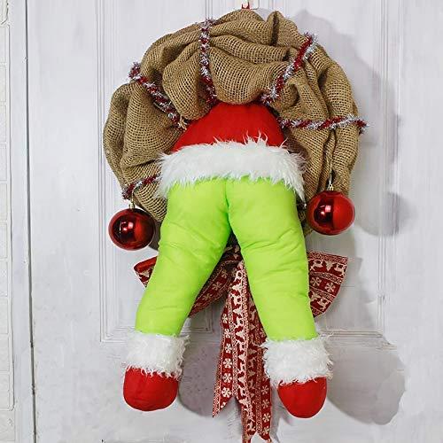 N/J Xmas Wreaths Christmas Thief Stole Christmas Burlap Wreath Thief Wreaths with Pose Able Plush Legs - Ideal Christmas Indoor Decoration (L)