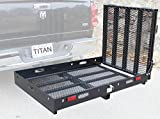 Titan Ramps Hitch Mounted Wheelchair Carrier Rack Ramp 500 lb Capacity Black Powder Coated Steel