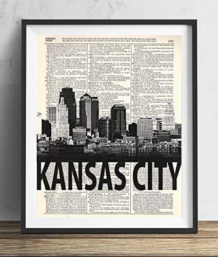 Kansas City Skyline With Bold Name Dictionary Art Print 8x10