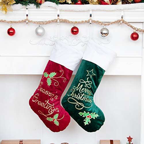 Weihnachtsstrumpf 2er Nikolausstrumpf Deko Kamin 2 Set Nikolausstiefel zum befüllen und aufhängen groß Ideale Weihnachtsdekoration Christmas Stockings Xmas Weihnachtsmann Rot Grün