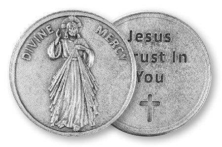 DIVINE MERCY munten token in mat zilver 30mm met dubbele hart liefde token brooch