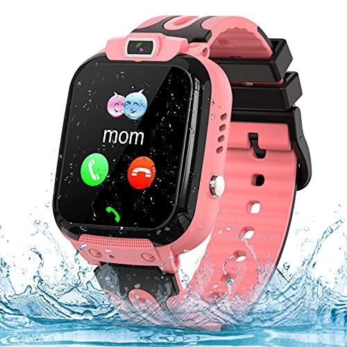 Montre GPS Enfant Tracker Montre Connectée Enfant Téléphone avec SOS Caméra Réveil Jeux, Smartwatch Enfant pour Fille Garcon, Cadeaux d'anniversaire, Pink