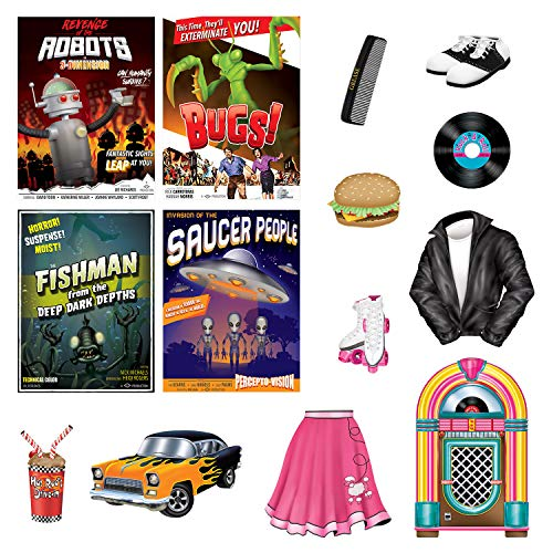 Beistle 50's Rock n Roll Party Accessories Bundle | Cutouts | Party Accessories, Kids Birthday, Vintage Themed Event, Retro Classic