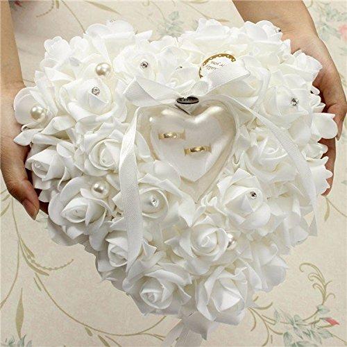 bureze Wedding Favors romántico Pearl rosas anillo en forma de corazón hecho a mano caja de regalo anillo almohada cojín