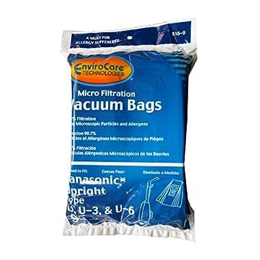 EnviroCare Replacement Vacuum bags for Panasonic Types U, U-3, U-6-9 Pack