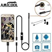 USB Endoscope, Amicool 2 in 1 Borescope Inspection Camera 2.0 Megapixels CMOS HD Waterproof Snake Camera with USB Adpater and 6 Adjustable LED Light for Android/Windows - 3.5 Meters (11.5 ft.)