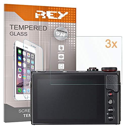 REY 3X Protector de Pantalla para Canon G9X - G9XII - G7X - MARKII - G5X, Cristal Vidrio Templado Premium