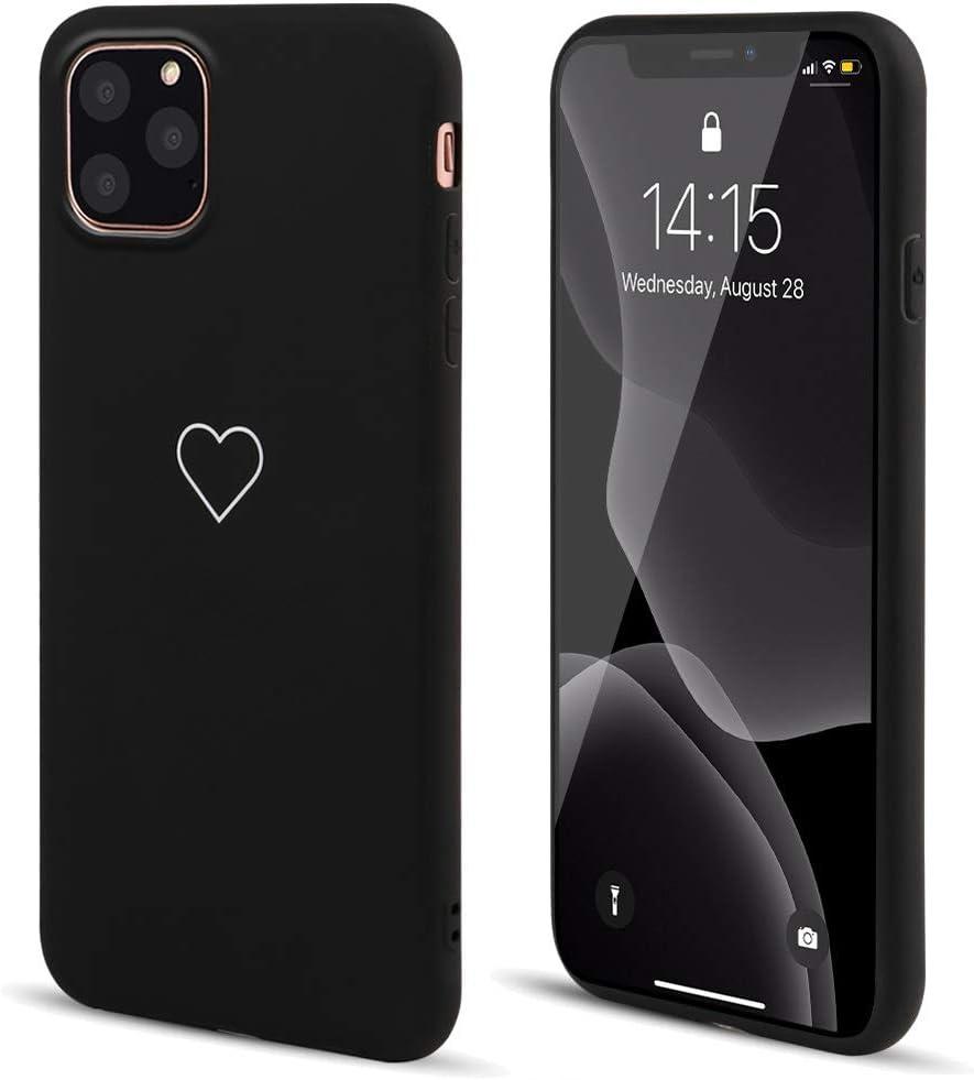 for iPhone 11 Case LAPOPNUT Fashion Cute Love-Heart Shape Matte Case Anti-Scratch Soft TPU Cover Back Bumper for Apple iPhone 11,Black