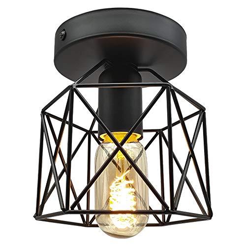 Vintage Industrial Flush Mount Ceiling Light, Bulb Included, E26 E27 Retro Black Metal Semi-Flush Mount Ceiling Light Fixture for Hallway Stairway Bedroom Kitchen Farmhouse Lighting