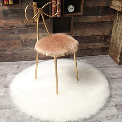 Runde Sitzkissen Lammfell, Lange Wolle Flächenteppiche Für Boden Shaggy Plüsch Teppich Für Kinder Kinder Wohnkultur(nur 1 Stück)-j 50x50cm(20x20inch)