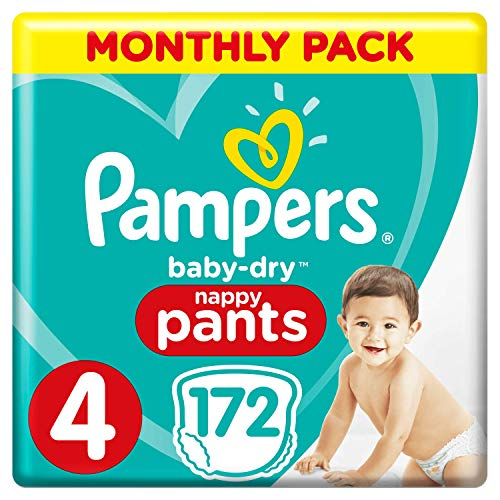Pampers Baby-Dry Windelhosen, Größe 7, 112 Windelhosen, Monatspackung, Easy-On mit Luftkanälen für bis zu 12 Stunden atmungsaktive Trockenheit