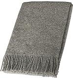 Grau melierte Wolldecke 100prozent Schurwolle, Plaid Reine Wolle mit Fransen 140x200cm Tagesdecke Wohndecke(Grau meliert) Sofadecke, Kuscheldecke, Plaid Wolle
