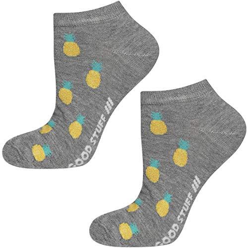 soxo Damen oder Mädchen Sneaker Socken | 11 Lustige Verschiedene Motive | Füsslinge Söckchen für Frauen | Grössen 35-40 (Ananas)