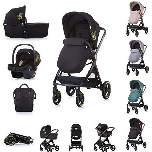 Chipolino Kinderwagen Elite 3 in 1, Autositz, klappbar, Tragetasche, Sportsitz, Farbe:schwarz