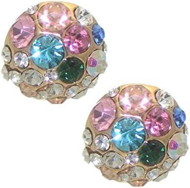 EBERTA Gold tone Multi Coloured Crystals Clip On Earrings