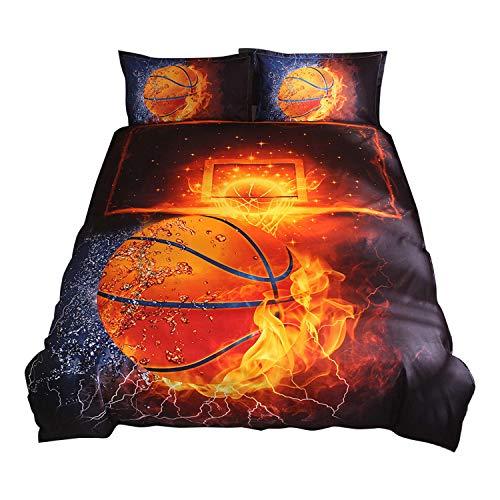 Decdeal Bettwäscheset Dreiteilige Bettwäsche Basketball Muster Weich Atmungsaktiv In Vier Größen Erhältlich Schwarz