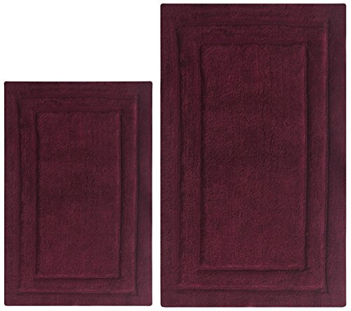 Chardin Home - 100% Cotton Two Piece Classic Bath Rug Set, (21''x34'' & 17''x24'') with Anti-Skid Spray Latex Back, 21''x34''/17''x24'', Burgundy