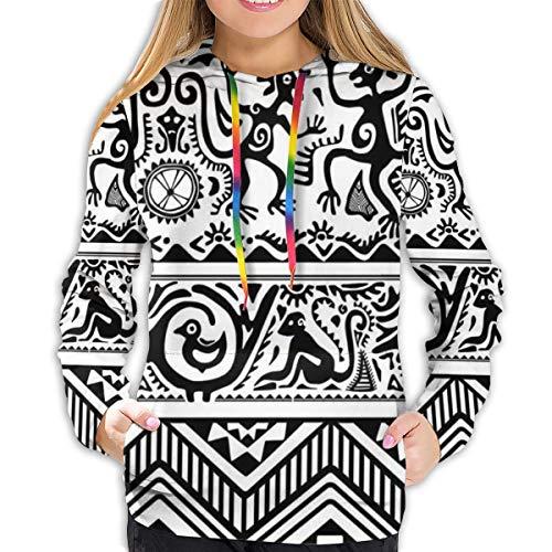 Women's Hoodies Tops,Monkeys Birds Simplistic Animal Motifs Tribal Ornaments African Petroglyph Theme,Lady Fashion Casual Sweatshirt(XL)