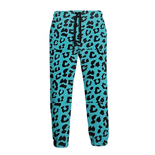 136 Pantalones de chándal de los hombres, Azul de Leopardo Joggers Pantalones Casual Deportivos Pantalones para Hombre para Jogging
