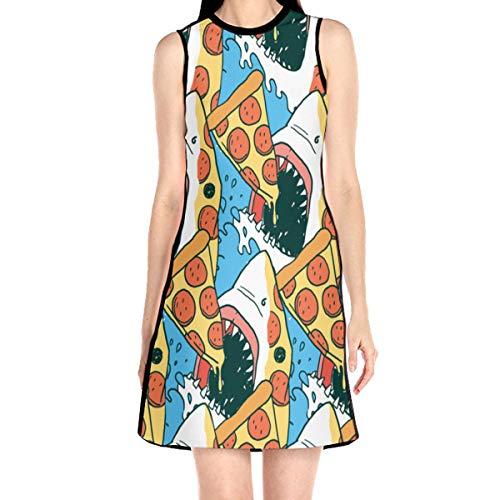 Shark's Pizza Women's Sleeveless Dress Casual Slim A-Line Dress Tank Dresses White