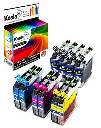 Koala 10 Druckerpatronen kompatibel für Brother LC123 LC-123 LC123xl für Brother MFC-J6520DW DCP-J4110DW MFC-J4710DW MFC-J4510DW DCP-J752DW MFC-J870DW MFC-J6720DW MFC-J4710DW 4*BK 2*C 2*M 2*Y