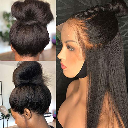 MSGEM Lace Front Human Hair Wigs Mongolian Hair Yaki Straight Lace Front Wig For Women 10 inch Glueless 13x4 Lace Wig Pre plucked With Baby Hair Kinky Straight