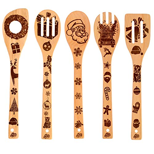 HANSGO Christmas Kitchen Cooking Utensils Set, 5PCS 12 inches Xmas Kitchen Decorations Gifts Idea Burned Wooden Spoons Utensil Set, House Warming Wedding New Year Present Utensils Spoon Slotted Spoon