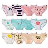 Kidear Série Enfants Culotte Culotte Culotte Enfant 12 Pièces sous-vêtements en Coton Doux pour Tout-Petit, âgés de 2 à 10 Ans (6-8 Ans, Style4)