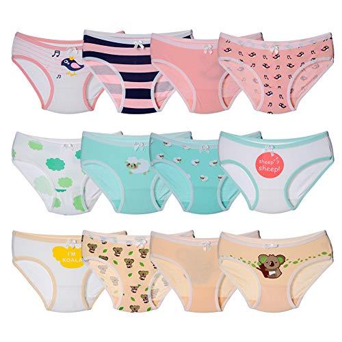 Kidear Serie de niños Paquete de 12 Calzoncillos para niñas Bragas de los niños Calzoncillos de algodón Suave Calzoncillos para bebés Edad 2-10 años (8-10 años, Estilo4)