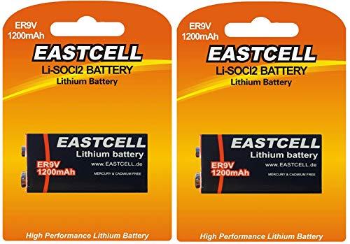2 x ER9V 9V Block (1200 mAh) Lithium Langzeitbatterie Rauchmelder (2 Batterien) EINWEG EASTCELL