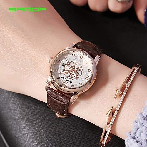 SJXIN Coole stilvolle Sanda-Uhr, Sanda Damenuhr Damen wasserdichte Uhr Sportuhren (Color : 5)